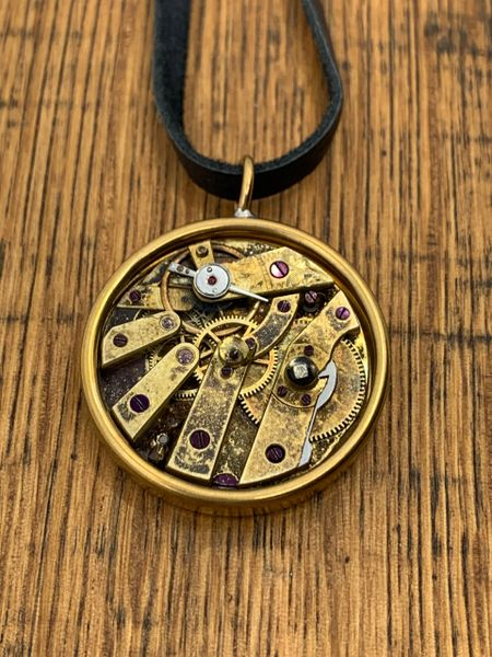 Vintage Mechanical Watch Necklace with Brass Bezel and Black Leather #2