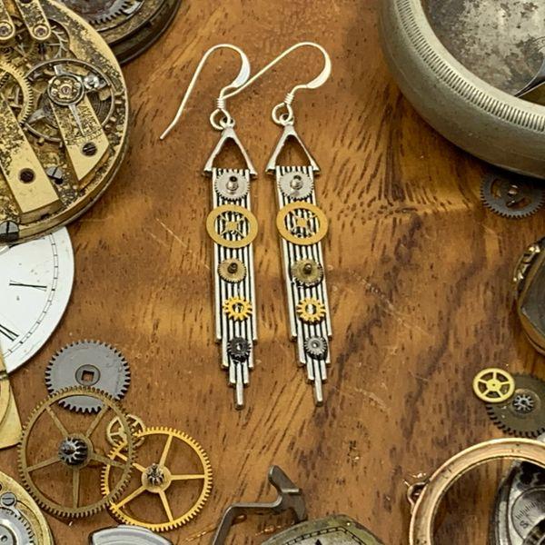 Silver Deco Gear Drop Earrings