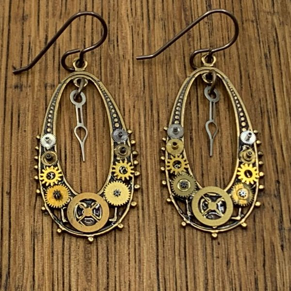 Bronze Oval Filigree Gear Drop Earrings