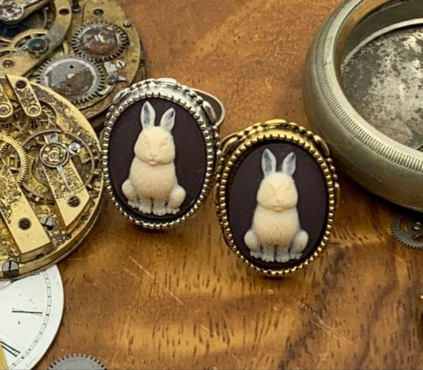 Bunny Cameo Ring Adjustable