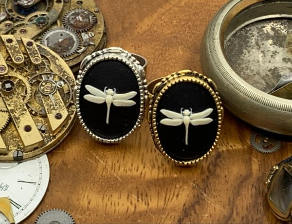 Dragon Fly Cameo Ring Adjustable