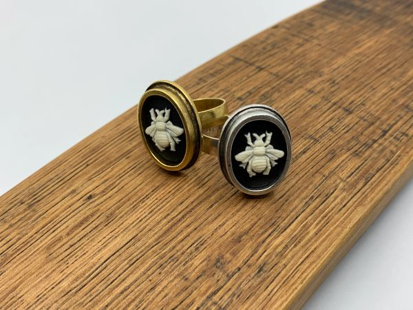 Small Bee Cameo Ring Adjustable