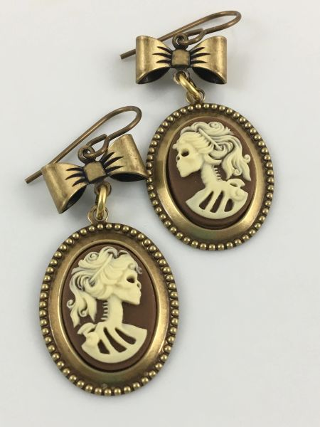 Bronze Goth Lolita Cameo Earrings with Bow
