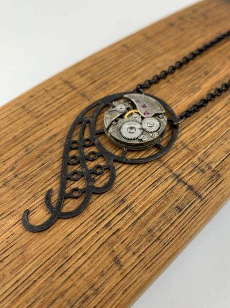 Black Gear Wing Watch Necklace