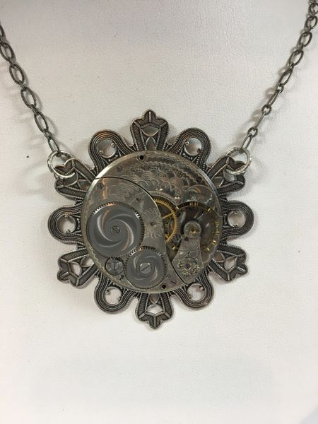 Silver tone Ribbon Pendant Base with Vintage Elgin Pocket Watch Movement