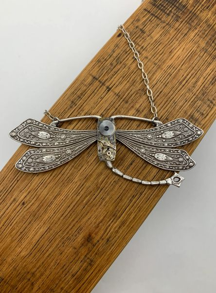 Very Large Silver French Dragonfly with Vintage Rectangular Watch Movement