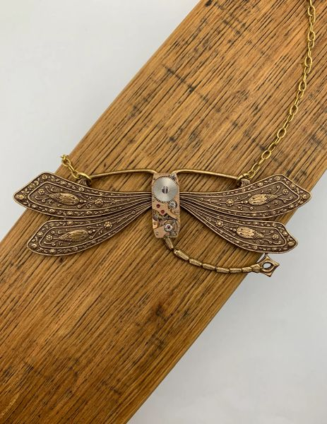 Very Large Bronze French Dragonfly with Vintage Rectangular Watch Movement