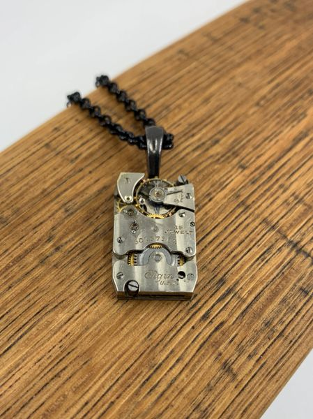 Simple Rectangular Elgin Watch Necklace with Black Chain