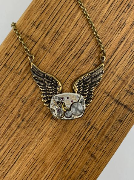 Bronze Wing Necklace with Vintage Watch