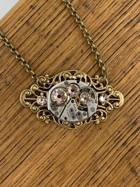 Bronze Small Oval Filigree Necklace with Vintage Watch and Silk Swarovski Crystals