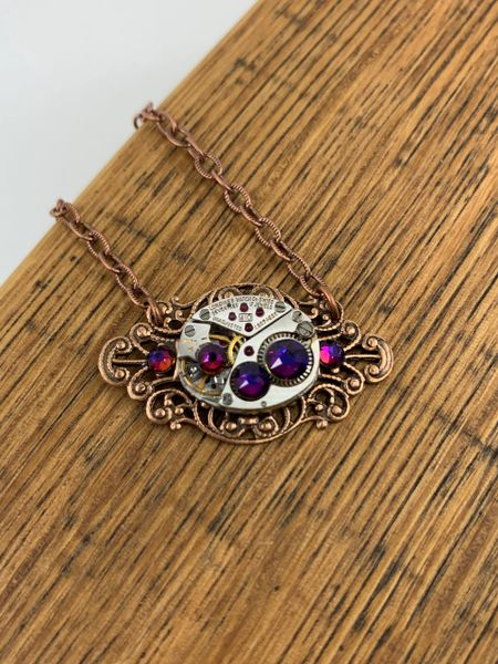Small Copper Oval Filigree Necklace with Vintage Watch and Volcano Swarovski Crystals