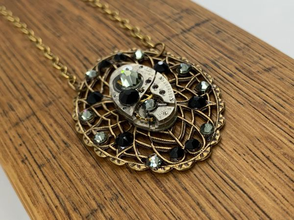 Large Oval Brass Filigree with Vintage Watch and Crystals