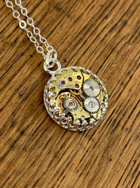 Sterling Silver Gallery Wire Pendant with Petit Gilded Watch