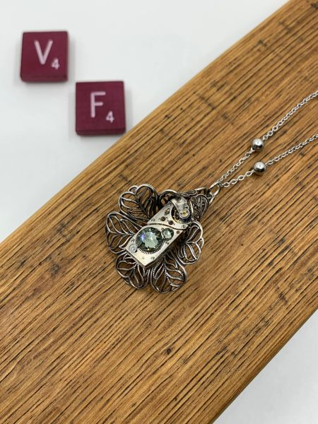 Silver Filigree Tulip with Rectangular Vintage Watch and Grey Swarovski Crystals