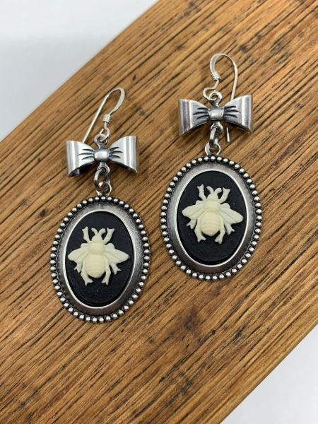 Silver Bee Cameo Earrings with Bow