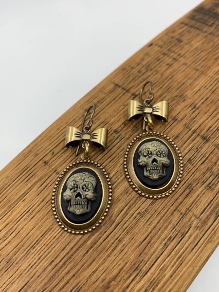 Bronze Day of the Dead *dia de los Muerto Cameo Earrings with Bow