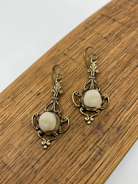 Bronze Filigree Resin Teeth Earrings