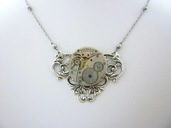 Silver Tone Floral Openwork Necklace with Vintage Mechanical Watch Movement