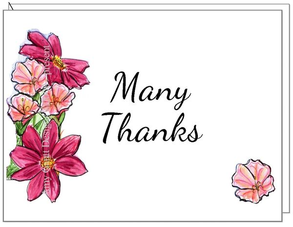 Thank You Many Thank Floral Boxed Note Cards