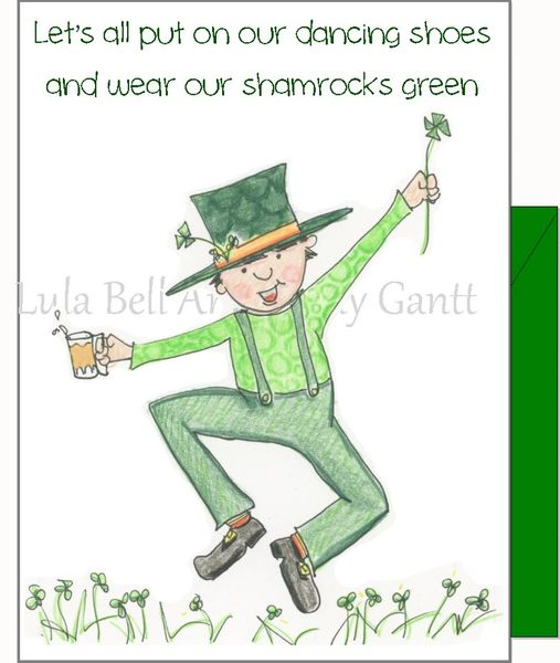 St. Patrick's Day - Dancing Leprechaun Greeting Card