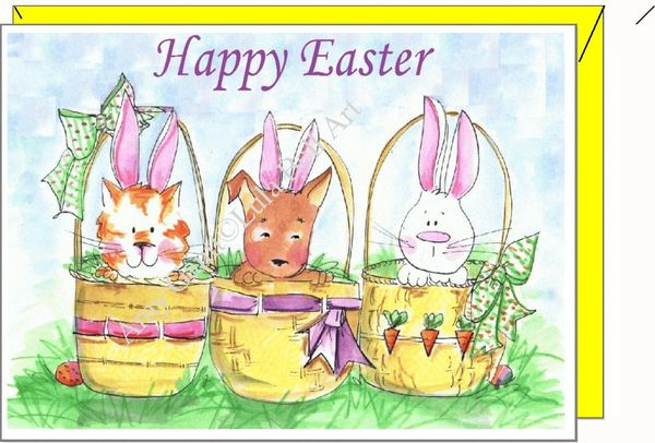 Easter - 3 Easter Baskets Greeting Card