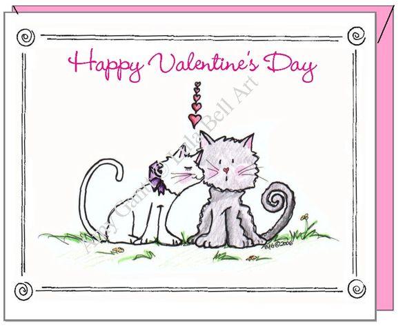 Valentine - Kissing Kitties Greeting Card