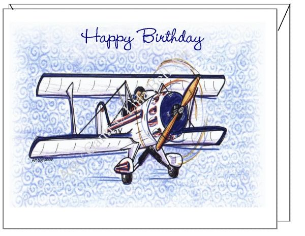 Birthday - Bi-Plane Greeting Card