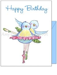 Birthday - Bird Ballet Greeting Card