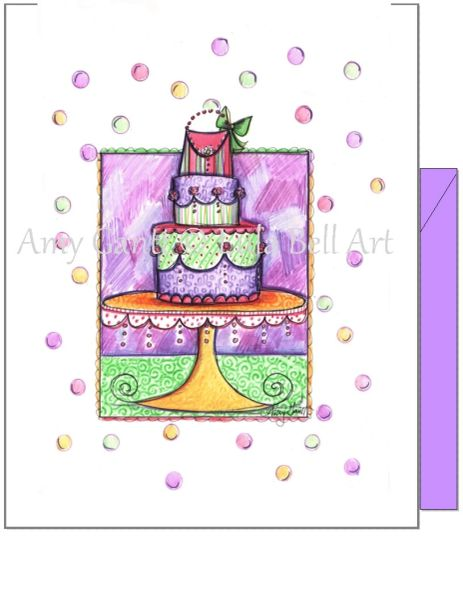 Birthday - Cake with Purse Greeting Card