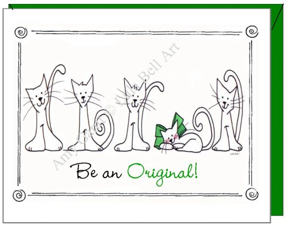 Birthday - Cats in a Row Greeting Card