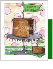 Birthday - Chocolate Cake Birthday Greeting Card