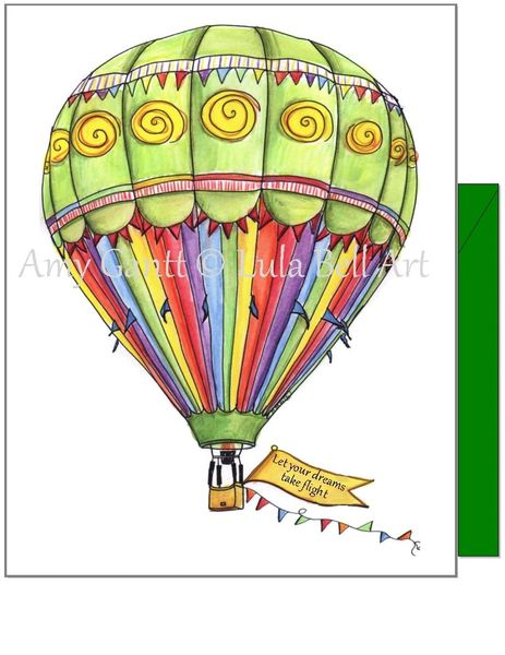 Birthday - Green Hot Air Balloon Greeting Card