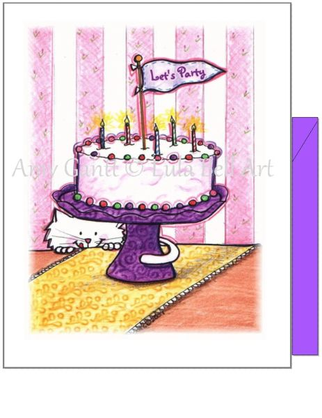 Birthday - Party Cat Greeting Card