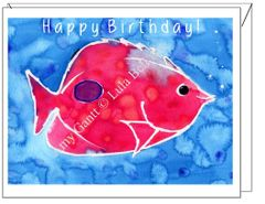 Birthday - Pink Fish Greeting Card