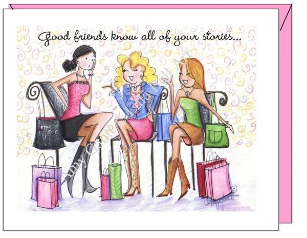 Birthday - Shopping Friends Greeting Card