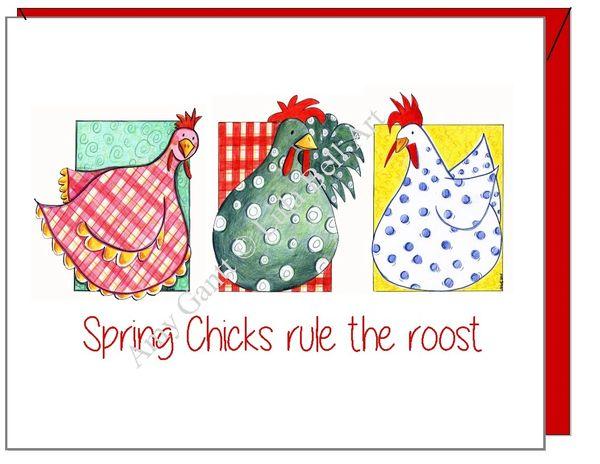 Birthday - Spring Chicks Rule Greeting Card