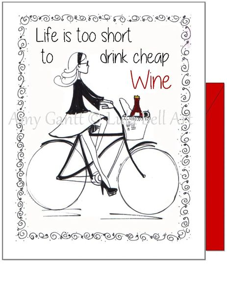 Birthday - Wine Bike Girl Greeting Card