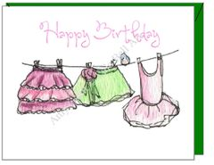 Child Birthday - Dress Up Clothes Line Greeting Card