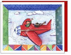 Child Birthday - Flying with Buddy Greeting Card
