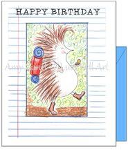 Child Birthday - Hedgehog Hiking Greeting Card