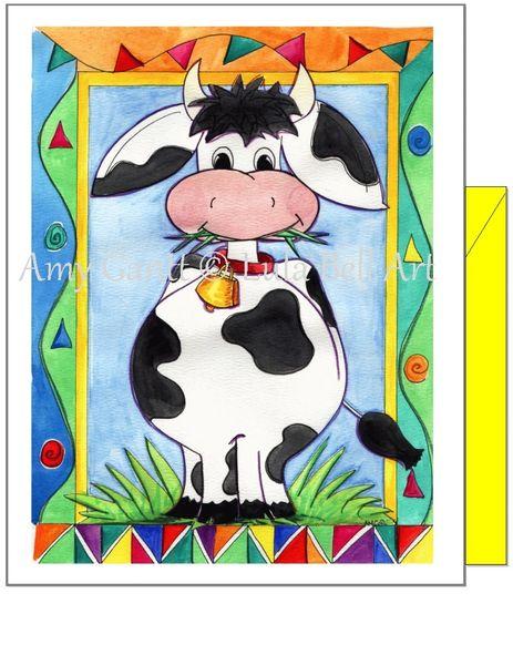 Child Birthday - Lula Bell Cow Greeting Card