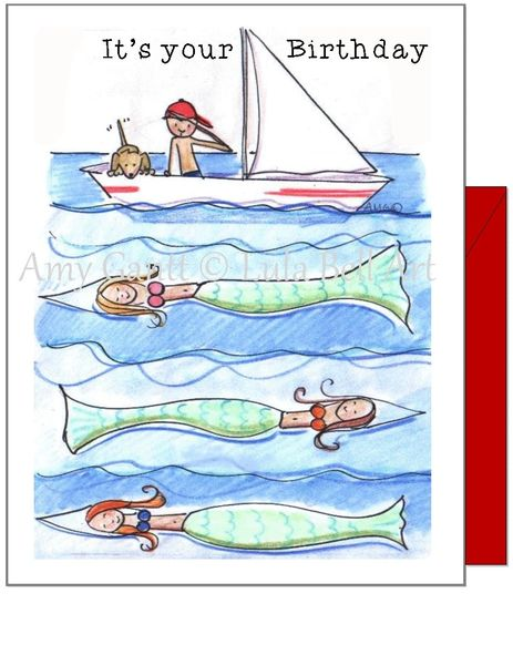 Child Birthday - Mermaids with Sailboat Greeting Card