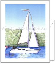 Birthday - Sailboat with Dog Greeting Card
