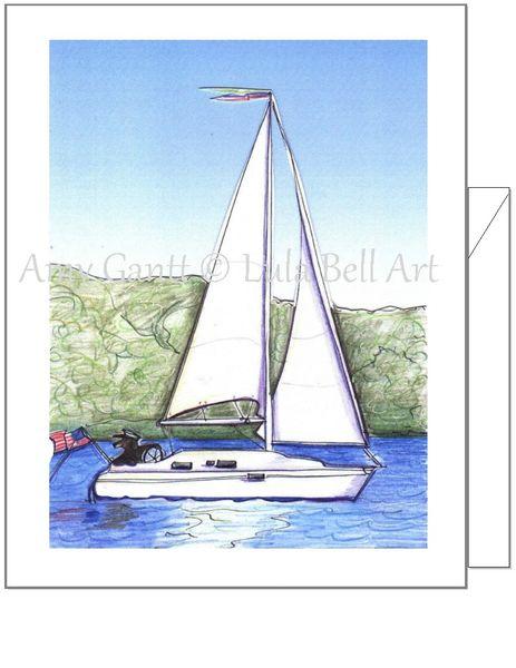 Birthday - Sailboat with Dog Greeting Card