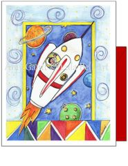 Child Birthday - Space Ship Greeting Card