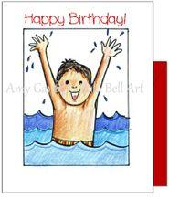Child Birthday - Swim Boy Greeting Card