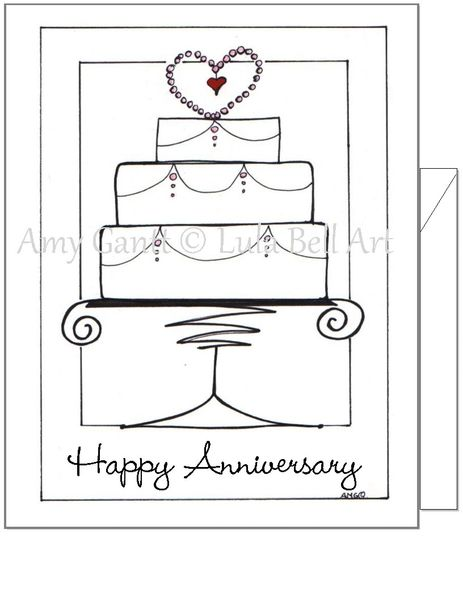 Anniversary - Cake Greeting Card