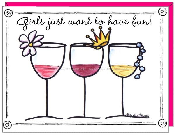 Wine - Girls just want to have fun! Boxed Note Cards