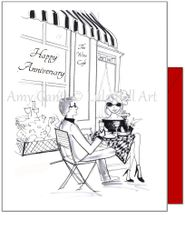 Anniversary - Wine Cafe Greeting Card
