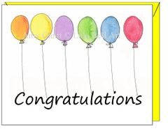 Congratulations - Balloons in a Row Greeting Card